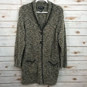 Denim & Co Marbled Oversized Button Cardigan M